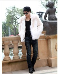 Wholesale Stylish Men s Faux Fur Coat Winter Warm Casual Overcoat Slim Fit Parka Jacket
