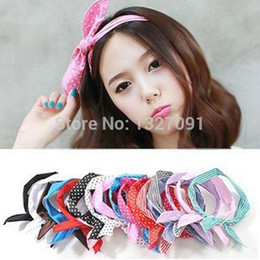 Wholesale x Hair Band Rabbit Ear Ribbon Headband Scarf CLSK