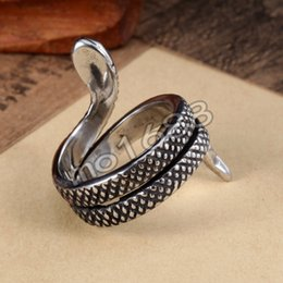 New Cool 361L Stainless Steel Retro Vintage Black Snake Ring Jewelry Punk Rock Size 7-13