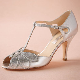 """Silver Wedding Shoes Glitter Pumps Mimosa T-Straps Buckle Closure Leather Party Dance 3"""" High Heels Women Sandals Open Toe Bridal Shoes"""