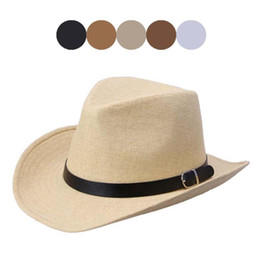 Wholesale-Modern Summer Men Straw Hat Cowboy Hat Jan04