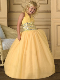Beading Sequins Halter Fitn Flare Stunning New Glamorous Ball Gown Flower Girl Dresses Chiffon Girl's Pageant Dress Free Shippin 29