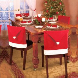 Wholesale Hot sale Santa Clause Red Hat Christmas gift Chair Back Covers for Christmas Dinner Decor New Party Supply Favor