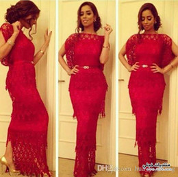 Red Lace Evening Dresses 2015 Sheath Bateau Sheer Neckline Slit Flappy Short Sleeves Layered Lace Dresses