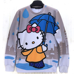 Raisevern cute cartoon Hello Kitty cat printed autumn sweatshirt animation print women girl lovely sweats kawaii hoodies tops