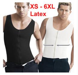 XS- 6XL Plus size sport zipper up latex vest for men latex waist cincher waist training corset hot shaper body waist trainer M715