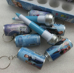 Wholesale 2015 Hot Cute Anna Elsa Cartoon Canned Cola Modeling Ballpoint Pen Children Key Chains Baby Learing Toy Birthday Gift cartons