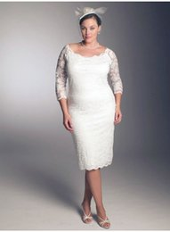 Knee Length Plus Size Lace Sheath Wedding Dresses 2015 Scoop Neck Bridal Dresses with Half Sleeves Garden Wedding Gowns Cheap