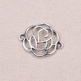 Wholesale 20pcs mm Zinc Alloy Antique Silver Flat Convex Rose Charms Connectors DIY Jewelry Making Accessories