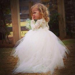 Pequeña novia vestido de niña de las flores en venta-Ilusión lindo muchachas de flor vestidos para bodas Una línea de joyas de cuello de manga larga de encaje vestidos asimétrico de tul falda Pequeña novia