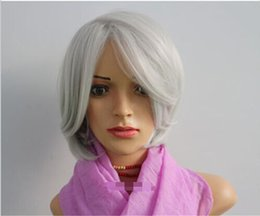 free shipping****Fashion Wig New Style Short Straight Gray Heat Resistant Fiber Party Wig