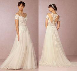 Lace 2016 BHDN Beach Wedding Dresses Sheer Neck Short Sleeves A-line Wedding Gowns Cheap Bridal Dresses