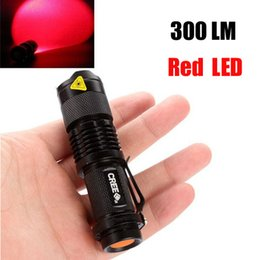 Free Epacket,Red LED Bulb Flash Light 7W 300LM CREE Q5 LED Camping Flashlight Torch Adjustable Focus Zoom waterproof flashlights Lamp