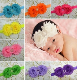 Wholesale 10PCS Shabby Chic Baby Girl Head Bands stainChiffon Flower with Baby Girl kids Elastic Headband with pearl rhinestone Accessories CD D
