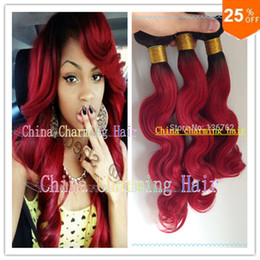 Charming Two Tone Color 1B Red ombre Brazilian human Hair Extension Body Wave 7A Ombre Red Brazilian Vigin Hair 3pcs bundles lot