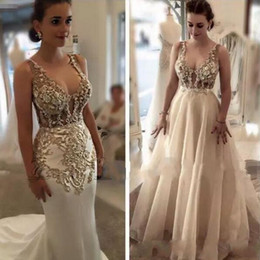 2018 Elegant Scoop Mermaid Wedding Dresses with Overskirts Lace Appliques Arabic Crystal Beads Bridal Gowns Custom Made robe de mariage