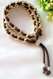 Wholesale sales punk leather woven bracelet ,Brown Braided Rope Fashion Women Jewelry fine quality