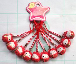 Wholesale 60 Red Maneki Neko Lucky Cat charms Cell Phone Key Chain Handbag Schoolbag Straps with Bell
