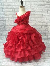 2015 One Shoulder Flower Girl Dresses Princess Girls Pageant Dresses Kids Organza Floor Length Communion Wedding Party Gown