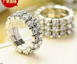 Wholesale Women Girl New Rhinestone Wedding Bridal Fashion Finger Rings Silver Crystal Toe Ring Elastic Body Jewellery