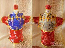 Creative Vintage Chinese style Hooded Wine Bottle Clothes Bag Festive & Party Table Decoration Silk Pattern Bottle Cover 10pcs l