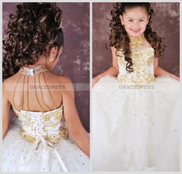 2016 filles col haut litière blanc avec robe de pagent d'or avec fond d'organza et perles sangles filles pageant robes à partir de robes de pagent perles fournisseurs