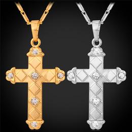 Unisex Latin Cross Pendant Platinum 18K Real Gold Plated Necklace for Women Men Rhinestone Cross Necklace