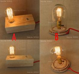 American Rural Vintage E27 Solid Wood Lamp Holder Socket Edison Bulb Bedside Lamp Creative Coffee Shop Decoration Table Lamp
