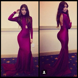 2020 Michael Costello Long Sleeve Prom Dresses Open Back Burgundy Mermaid Evening Dress Backless Formal Women's Party Gowns