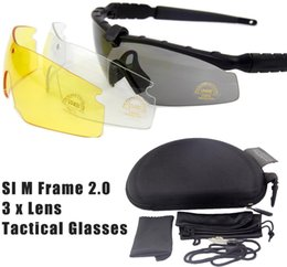 Wholesale-US STANDARD ISSUE M Frame 2.0 3 Lenses Tactical Goggles Eyewear Army Shooting GLasses For Men Sport Sunglasses For Wargame