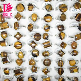 Wholesale Multi style Mix Style Stone Rings For Women New Assorted Natural Tiger Eye Gemstone Platinum Rings Jewelry