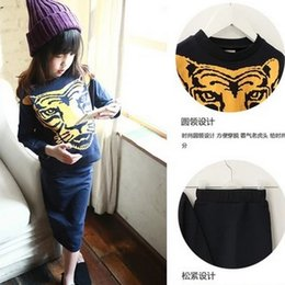 Wholesale 2015 Korean Girls Outfits Spring Long Sleeve Tiger Head Printed Tshirts Hip Skirts Sets Leisure Tracksuits Girl Clothing J4454