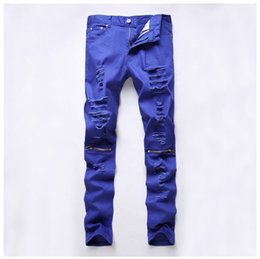 2016 new mens blue cut rotten hole Slim Straight jeans stretch pants casual pants feet