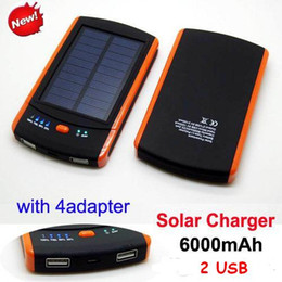 Wholesale Portable s6000 mah solar charger Waterproof Dual USB Port mah power bank s6000mah Solar Battery For Samsung ipad iphone s plus