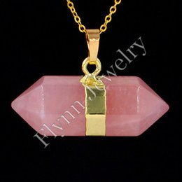 Wholesale Gold Plated Amethyst Onyx Natural Stone Center Line two Head Big Hexagonal prism Mascot Reiki Pendant Charms Amulet European Fashion Jewelry
