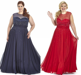 2019 Navy Blue Red Chiffon Plus Size Prom Dresses Plus Special Occasion Dress Bling Sequins Sheer Crew Cap Sleeve Plus Size Evening Gowns