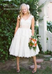 New Coming Short Bridal Gowns V Neck A Line Lace Wedding Dresses W1497 Cap Sleeve Low Back Tea Length Romantic Sash Handmade Appliques Best