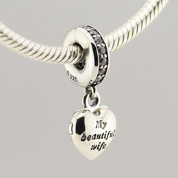 New 925 Sterling Silver Jewelry My Beautiful Wife Dangle Charm Beads with CZ Fits European DIY Jewelry Bracelets & Necklaces