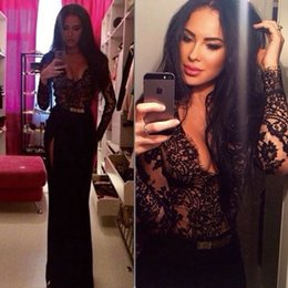 Design Fashion Black Lace Applique Deep V-neck Long Sleeve Sexy Evening Dresses New Sexy Party Prom Dress Gowns With Sash Plus Size