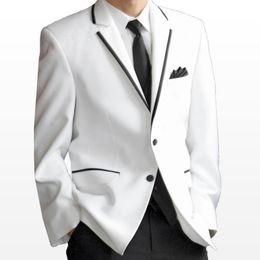 White Mens Jacket Black Pants Three Pieces Groom Groomsmen Tuxedos Mens Wedding Formal Suits with Black Trim Lapel (Jacket+Pants+Vest+Tie)