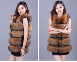 Wholesale-2016 New Fashion Luxurious Winter Warm Long Fox Fur Coat For Women Hot Natural Fur Jackets For Female Fur vest FREE SHIPPING