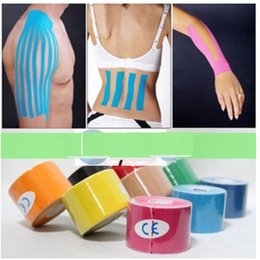 Wholesale 10 Colors cm x m Sports Kinesiology Tape Kinesio Roll Cotton Elastic Adhesive Muscle Bandage Strain Injury Support