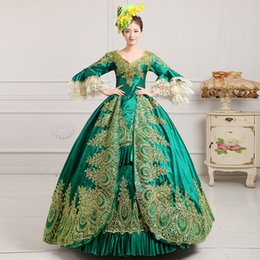2016 Rayal Green Lace Dance Stage Costume Historical Victorian Masquerade Ball Gowns Print Marie Antoinette Dress For Party