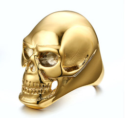Top-selling Ptrtty Good Quality Gothic Biker Stainless Steel Men 18k Gold And Black Smooth Skull Ring Halloween Day Gift 8-12 #