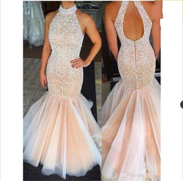 Floor Length Party Evening Dresses New Halter Neck Mermaid Prom Dresses High Neck Champagne Keyhold Back Tulle Beaded Rhinestones Top 015