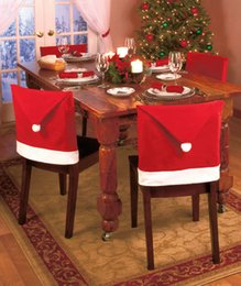 Wholesale 2015 Newest Chair Covers Santa Red Hat Chair Covers Christmas Decorations Dinner Chair Christmas Party Chair Cap Sets CQX
