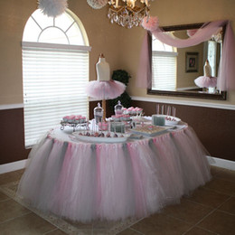 Wholesale Luxury Tulle Tutu Table Skirt Custom made Size and Color Chair Sashes Wedding Supplies Birthday Party Decorations Table Trim Tutu Skirt