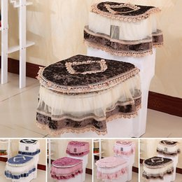 Wholesale High Grade Three piece Set Toilet Seat Cover U shaped Overcoat Toliet Case Home Decor Bathroom Lace Toilet Pads Mat JI0074 Salebags