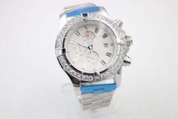 Diamond Bezel Milky Dial 50mm Men's Wristwatch Platinum Skeleton Full Stainless Steel Bracelet Chronometer Male Analog Stopwatch Wristwatch