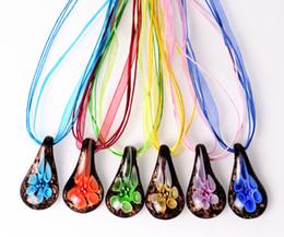 wholesale 6pcs handmade mix color Italian venetian Transparent Drop Flower 3D Lampwork murano glass pendant 3+1 silk necklaces nl0183m*6